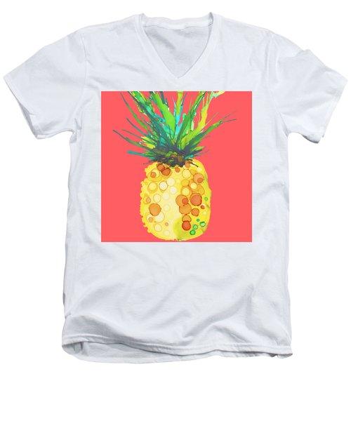 Pink Pineapple Daquari Men's V-Neck T-Shirt by Marla Beyer