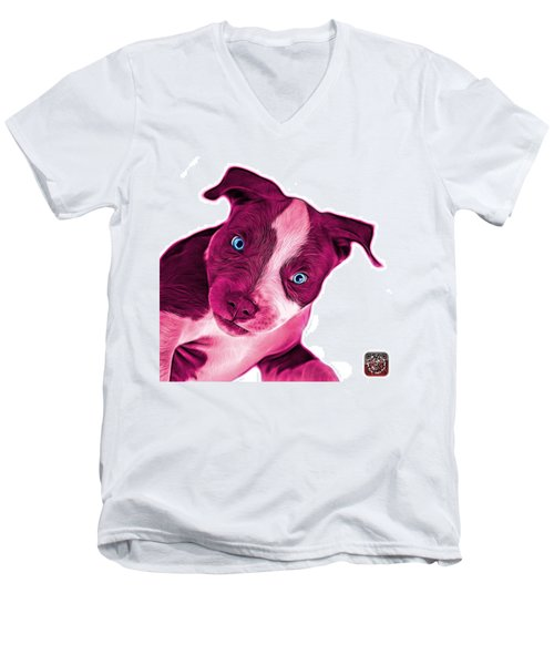 Pink Pitbull Dog Art 7435 - Wb Men's V-Neck T-Shirt