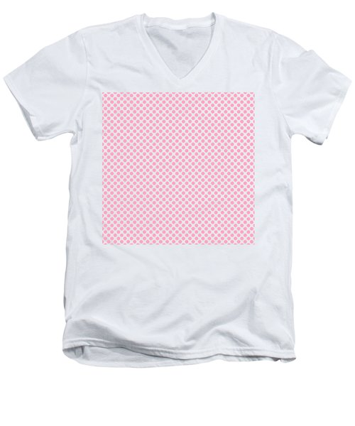 Pink Polka Dots Men's V-Neck T-Shirt