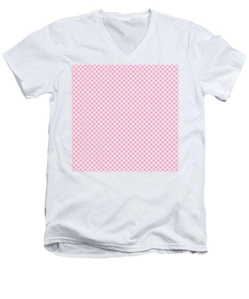 Pink Polka Dots Men's V-Neck T-Shirt