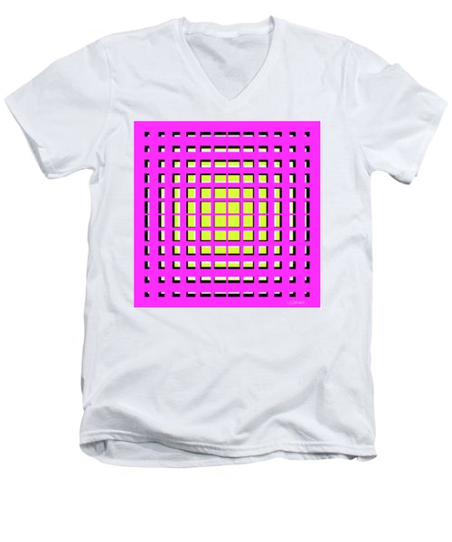 Pink Polynomial Men's V-Neck T-Shirt