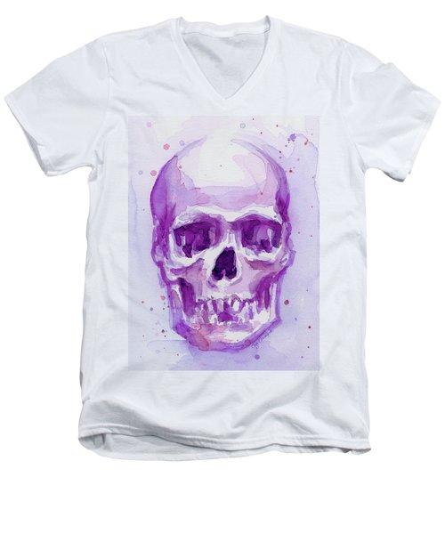 Pink Purple Skull Men's V-Neck T-Shirt