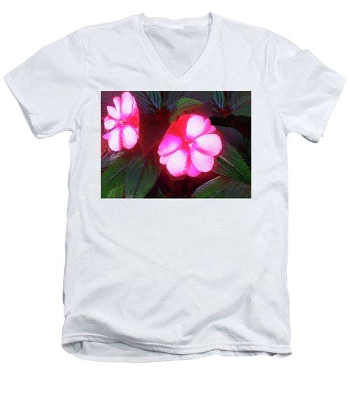 Pink Red Glow Men's V-Neck T-Shirt