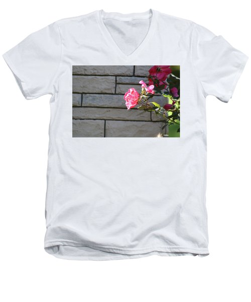 Pink Rose Against Grey Bricks Men's V-Neck T-Shirt