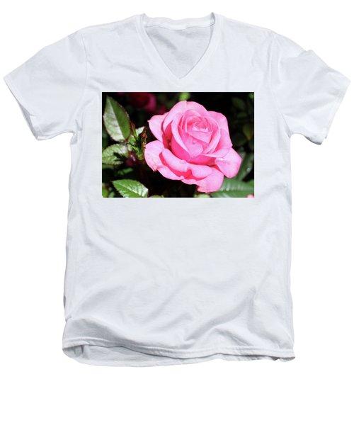 Pink Rose Men's V-Neck T-Shirt by Ronda Ryan