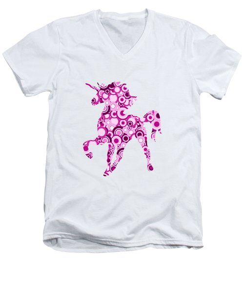 Pink Unicorn - Animal Art Men's V-Neck T-Shirt