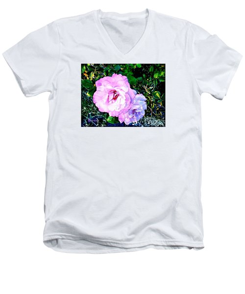 Men's V-Neck T-Shirt featuring the photograph Pink - White Roses  2 by Sadie Reneau