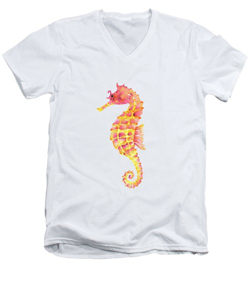 Pink Yellow Seahorse Men's V-Neck T-Shirt by Amy Kirkpatrick