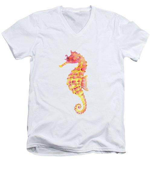 Pink Yellow Seahorse Men's V-Neck T-Shirt
