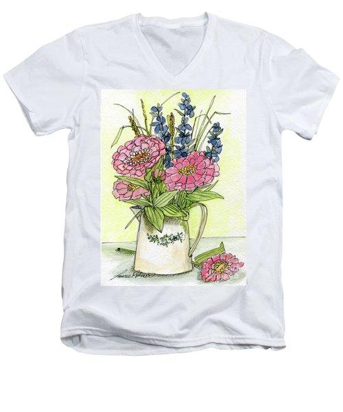 Pink Zinneas Men's V-Neck T-Shirt