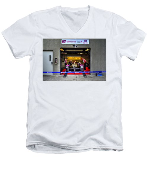 Pippa Mann Garage 2016 Men's V-Neck T-Shirt by Josh Williams