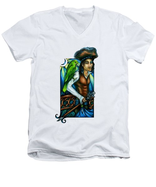 Pirate With Parrot Art Men's V-Neck T-Shirt