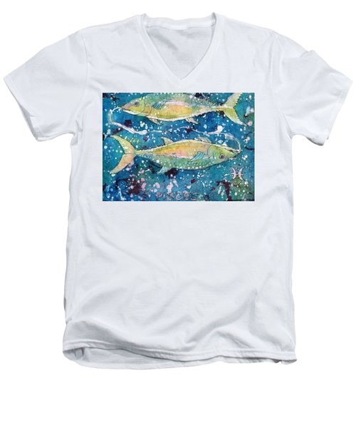 Men's V-Neck T-Shirt featuring the painting Pisces by Ruth Kamenev
