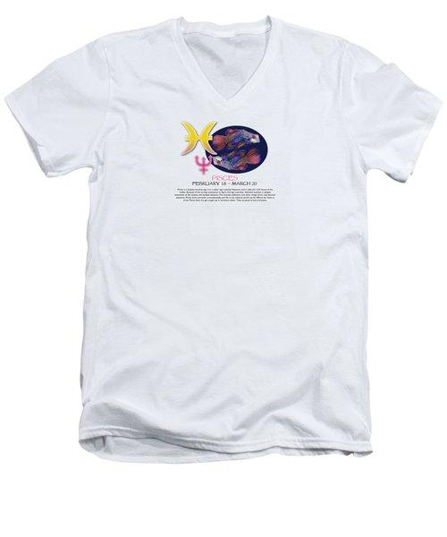 Pisces Sun Sign Men's V-Neck T-Shirt by Shelley Overton