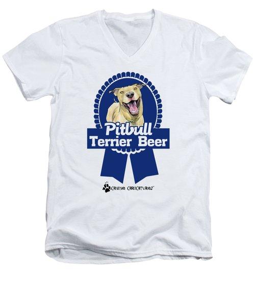 Pit Bull Terrier Beer Men's V-Neck T-Shirt