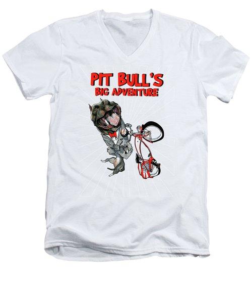 Pit Bull's Big Adventure Caricature Men's V-Neck T-Shirt