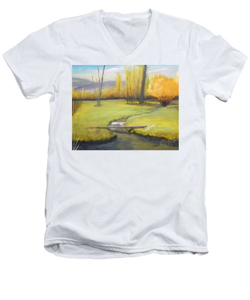 Men's V-Neck T-Shirt featuring the painting Placid Stream In Field by Sherril Porter