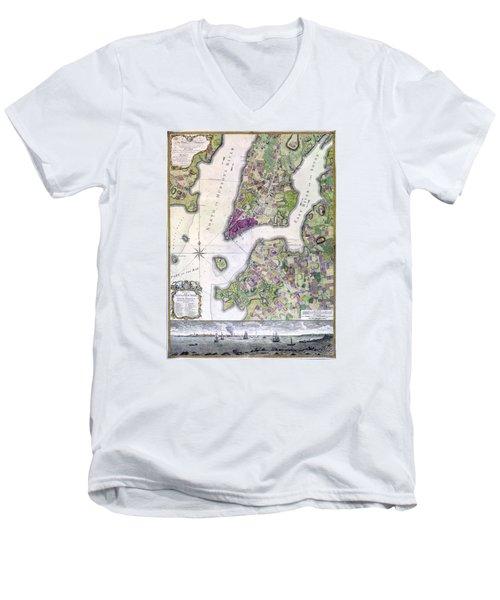 Plan Of Manhattan New York 1766 Men's V-Neck T-Shirt