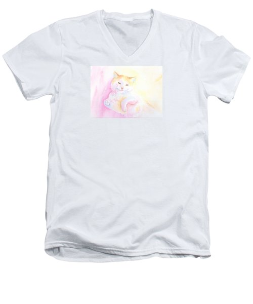 Men's V-Neck T-Shirt featuring the painting Playful Cat I by Elizabeth Lock
