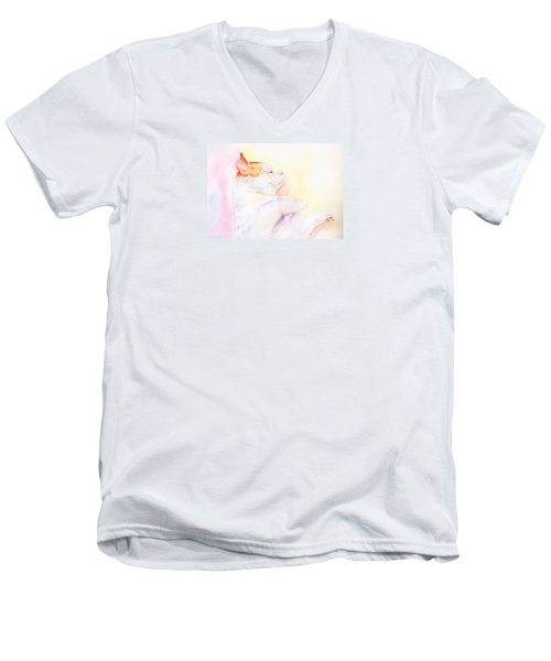 Men's V-Neck T-Shirt featuring the painting Playful Cat Iv by Elizabeth Lock