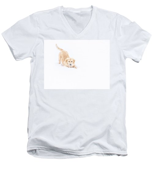 Playful Puppy In So Much Snow Men's V-Neck T-Shirt