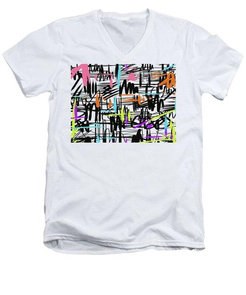 Playful Scribbles Men's V-Neck T-Shirt by Go Van Kampen
