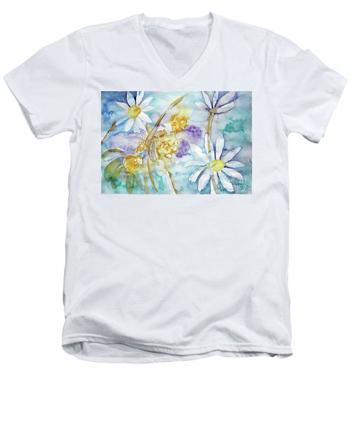 Men's V-Neck T-Shirt featuring the painting Playfulness by Jasna Dragun