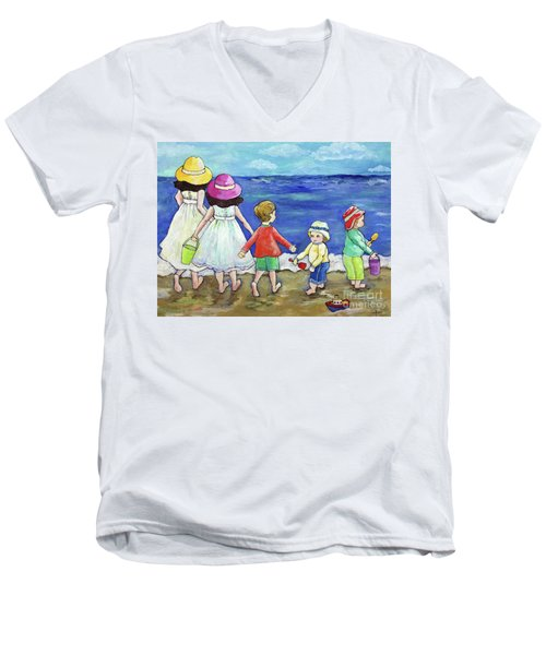 Playing At The Seashore Men's V-Neck T-Shirt by Rosemary Aubut