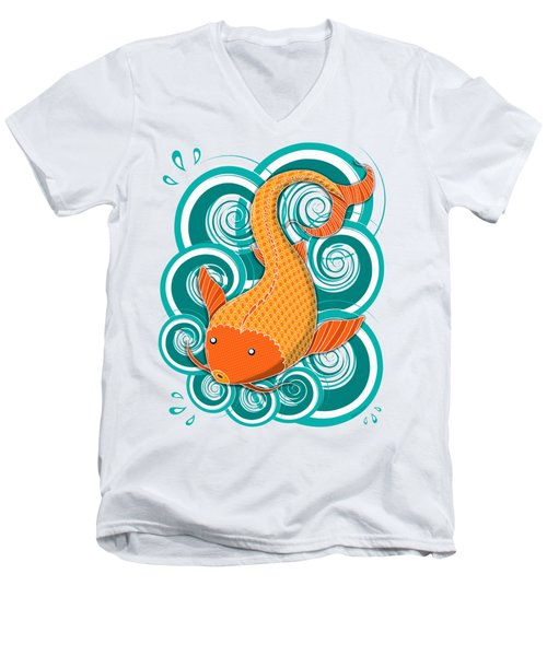 Playing Koi Men's V-Neck T-Shirt by Shawna Rowe