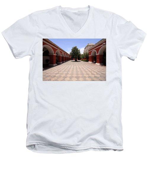 Men's V-Neck T-Shirt featuring the photograph Plaza At Santa Catalina Monastery by Aidan Moran