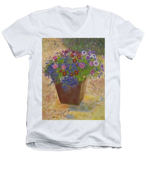 Men's V-Neck T-Shirt featuring the painting Pleasure Pot by Richard James Digance