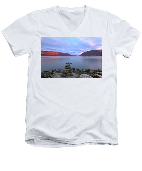 Plum  Point Rock Cairn At Sunset Men's V-Neck T-Shirt by Angelo Marcialis