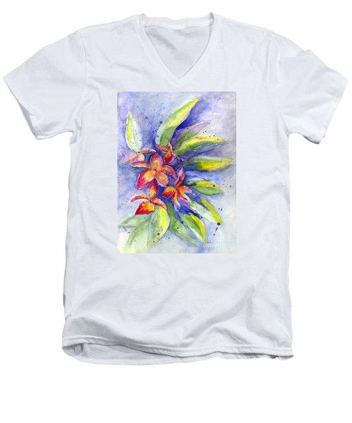 Men's V-Neck T-Shirt featuring the painting Plumeria by Carol Wisniewski