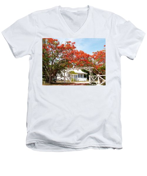 Poinciana Cottage Men's V-Neck T-Shirt