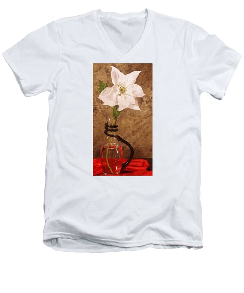 Poinsettia In Pitcher  Men's V-Neck T-Shirt
