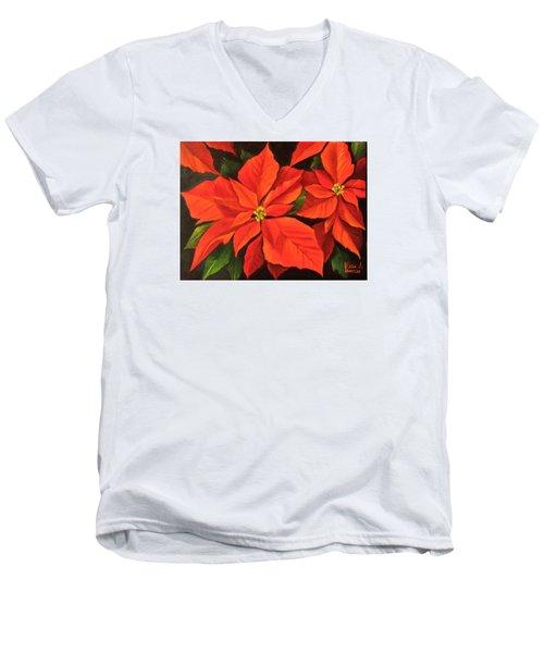 Poinsettia  Men's V-Neck T-Shirt