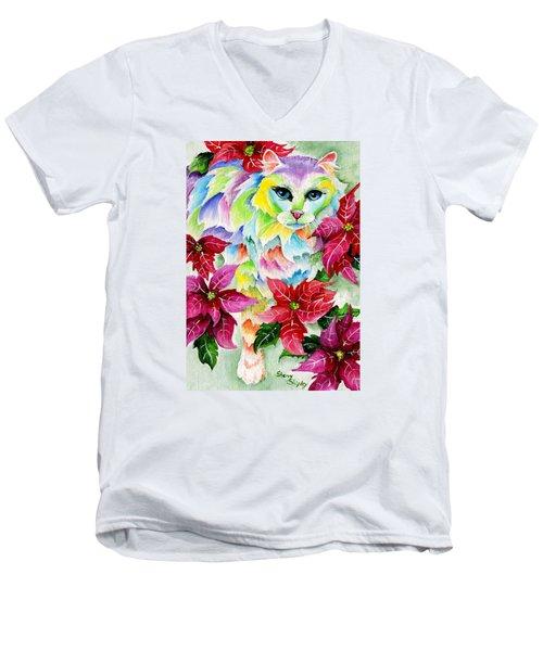 Poinsettia Sweetheart Men's V-Neck T-Shirt