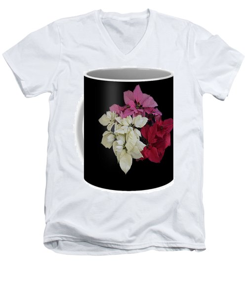 Men's V-Neck T-Shirt featuring the jewelry Poinsettia Tricolor Mug  by R  Allen Swezey
