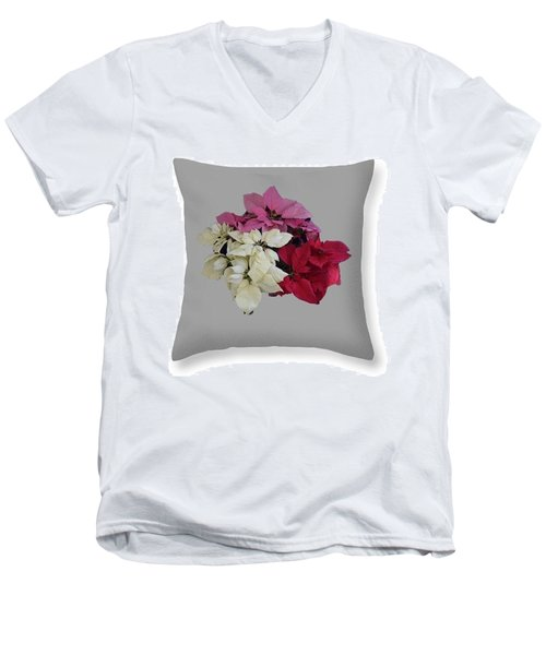 Men's V-Neck T-Shirt featuring the photograph Poinsettias Pillow Grey Background  by R  Allen Swezey