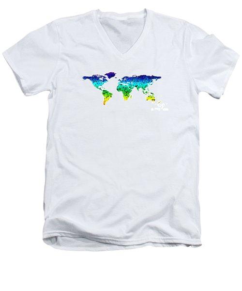 Point Map Men's V-Neck T-Shirt by Roger Lighterness