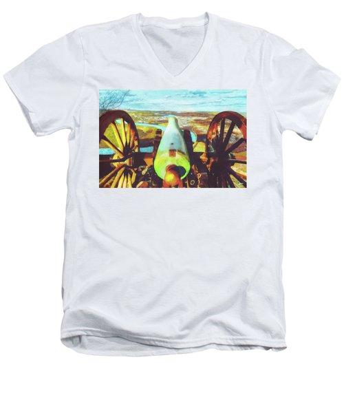 Point Park Cannon Men's V-Neck T-Shirt by Steven Llorca