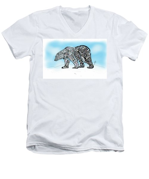 Polar Bear Doodle Men's V-Neck T-Shirt