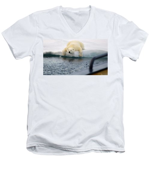 Polar Bear Says 'huh' Men's V-Neck T-Shirt