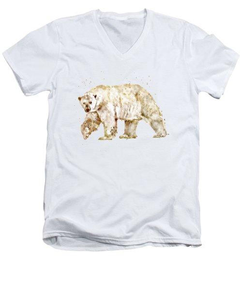 Polar Bear Watercolor Men's V-Neck T-Shirt by Marian Voicu
