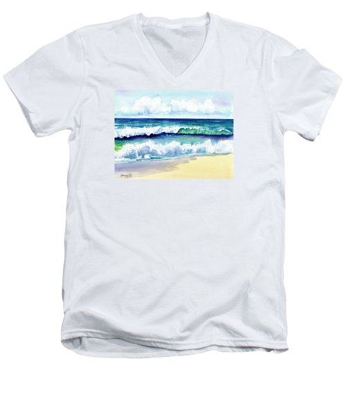 Men's V-Neck T-Shirt featuring the painting Polhale Waves 3 by Marionette Taboniar