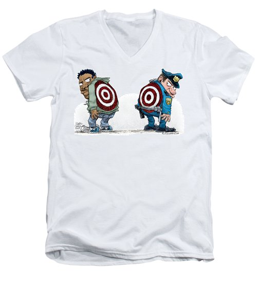 Men's V-Neck T-Shirt featuring the drawing Police And Black Folks Are Targets by Daryl Cagle
