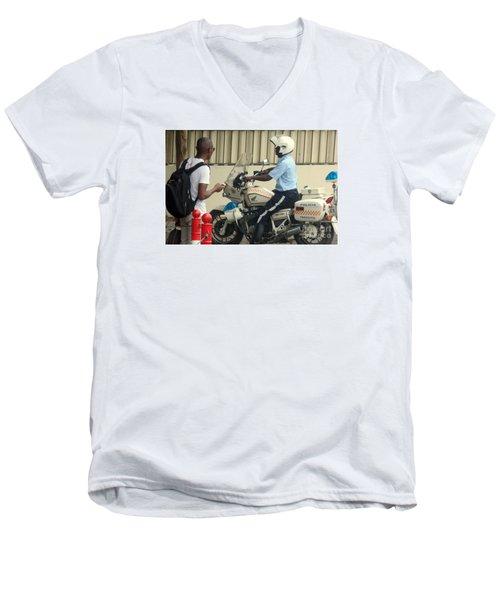 Police Escort Africa Men's V-Neck T-Shirt by John Potts