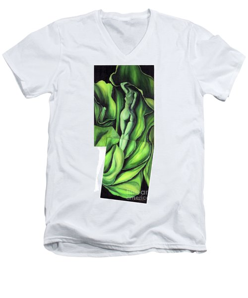 Men's V-Neck T-Shirt featuring the painting Pollination by Fei A