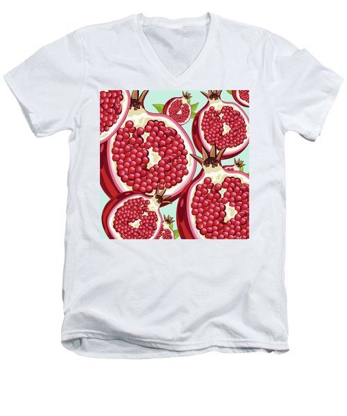 Pomegranate   Men's V-Neck T-Shirt by Mark Ashkenazi
