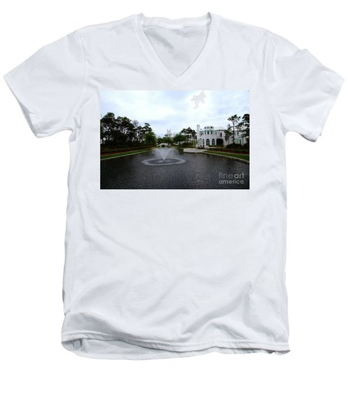 Pond At Alys Beach Men's V-Neck T-Shirt by Megan Cohen